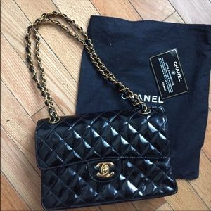 Black patent leather Chanel bag- gold hardware